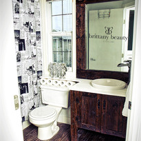 Bathroom reno, custom hand made cabinetry and accent mirror