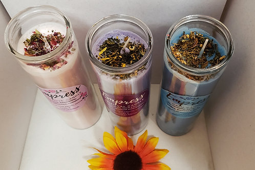 Custom Herbal Glass Candles
