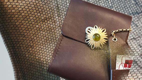 SuziBag - Coffee, Floral Green