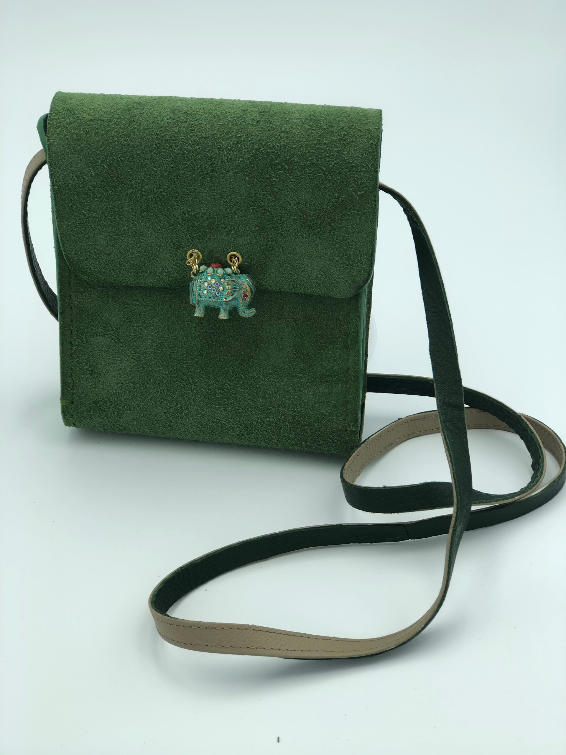 SuziBag - Green Suede, Elephant