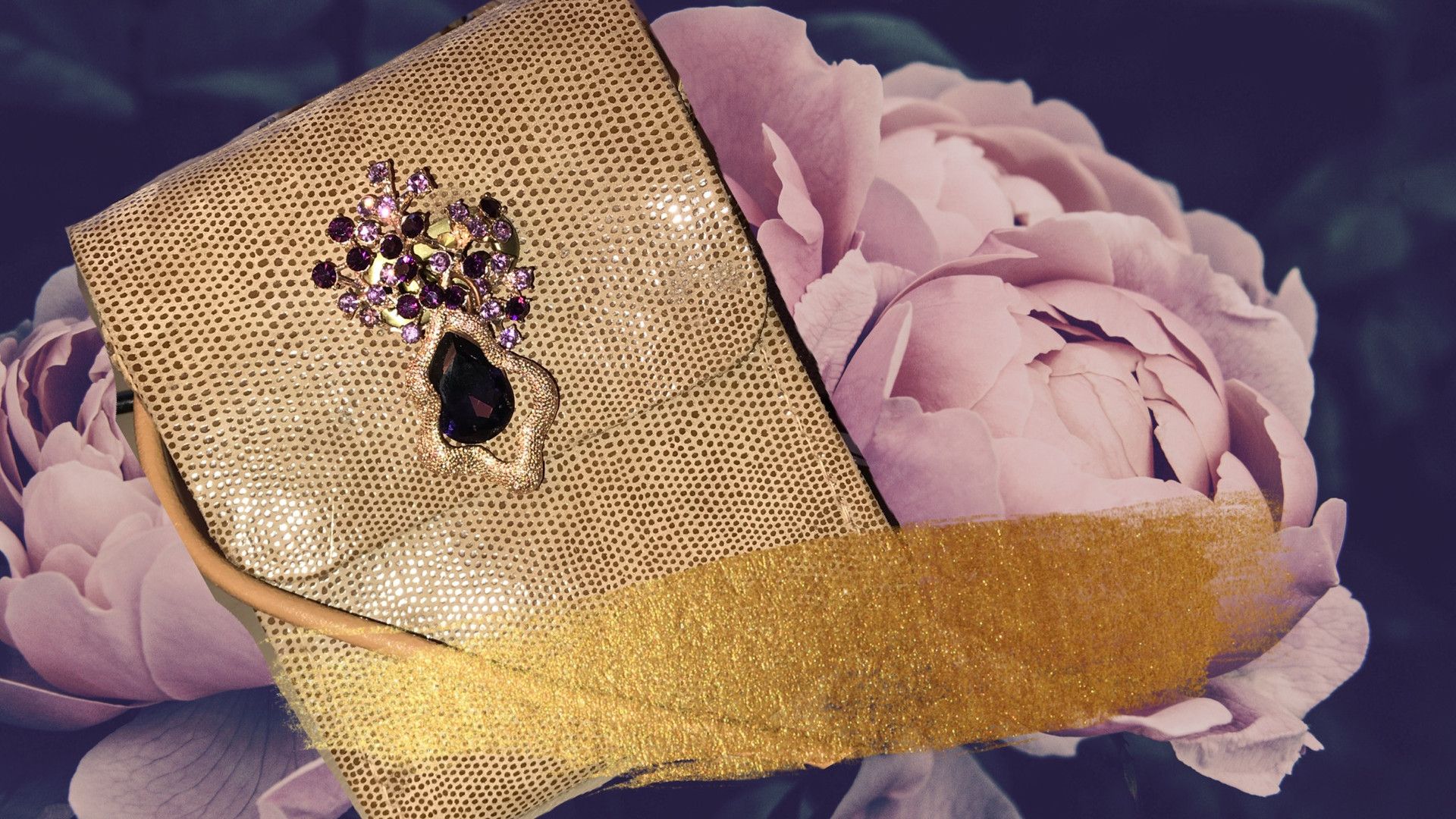 SuziBag - Gold Metallic, Purple Flower