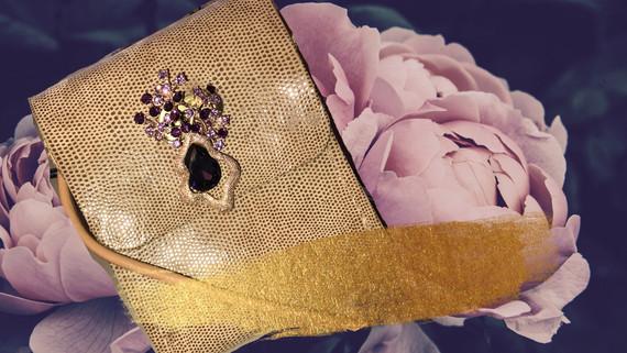 SuziBag - Gold Metallic, Purple Flower