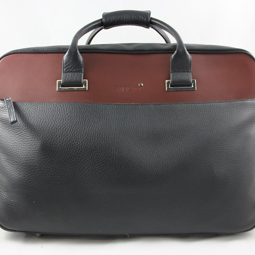 Short Travel Bag, Leder schwarz/braun
