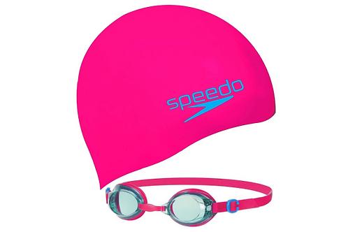 Set Speedo infantil de gorro y lentes para natación - 8-09302B996