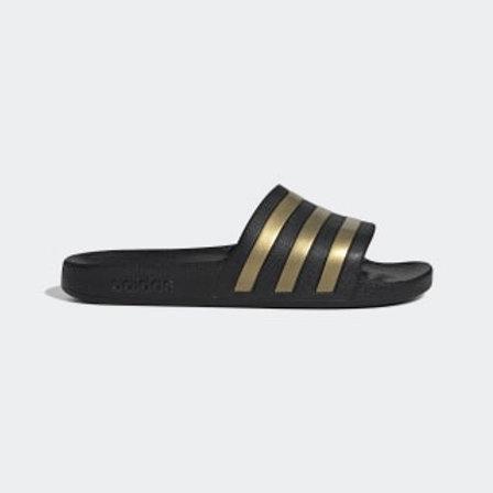 Sandalias Adidas Adilette Aqua negra/dorado unisex - EG1758