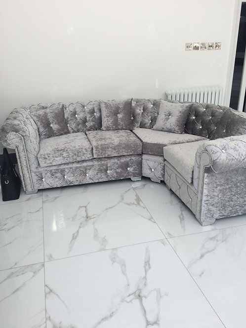 Chesterfield Corner in Silver Crushed Velvet