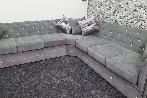 Chesterfield Corner Sofa in Grey Fabric