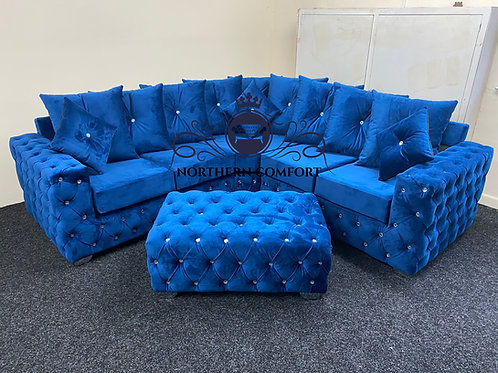 Ashton Corner Sofa in Blue French Velvet