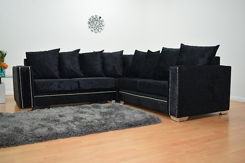 Abbey Corner Sofa in Black Crushed Velvet