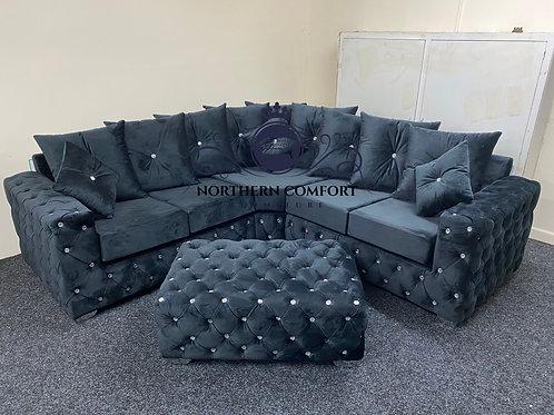 Ashton Corner Sofa in Black French Velvet