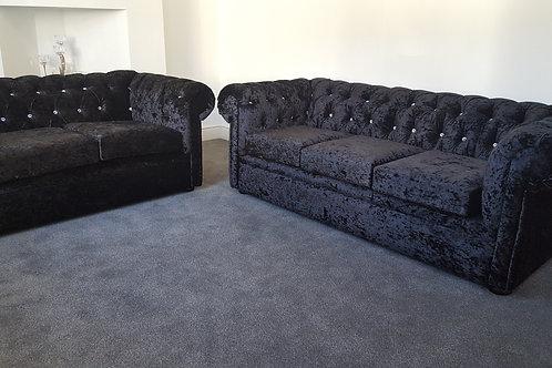 Chesterfield Sofa in Black Crushed Velvet