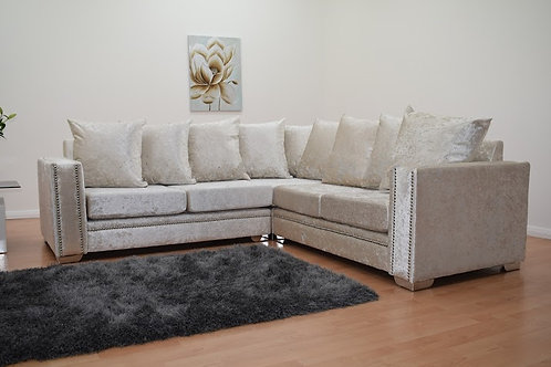 Abbey Corner Sofa in Cream Crushed Velvet