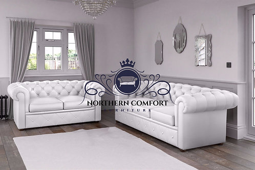 Chesterfield in White Malaga Bonded Leather
