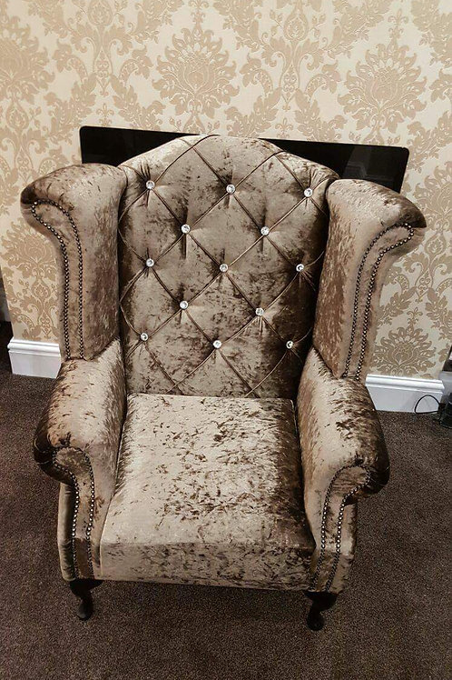 Chesterfield Queen Anne Chair in Chocolate Crushed Velvet