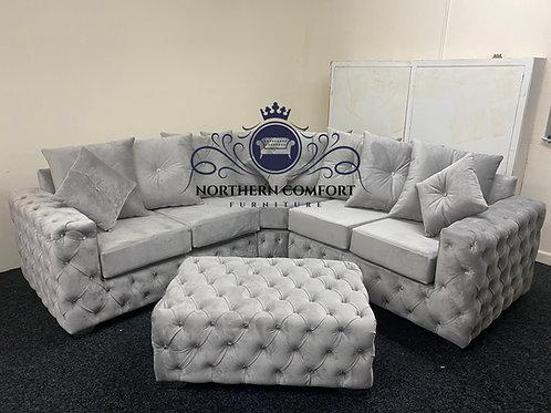 Ashton Corner Sofa in Silver French Velvet