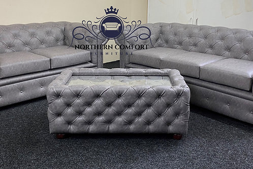 Chesterfield 3 + 2 in Grey Bonded Leather