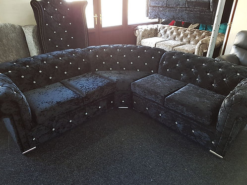 Chesterfield Corner Sofa in Black Crushed Velvet