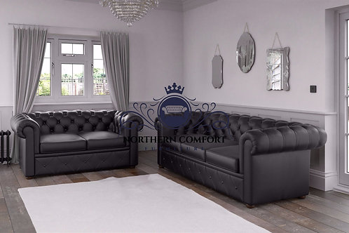 Chesterfield in Black Malaga Bonded Leather