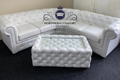 Chesterfield Corner Sofa in White Bonded Leather