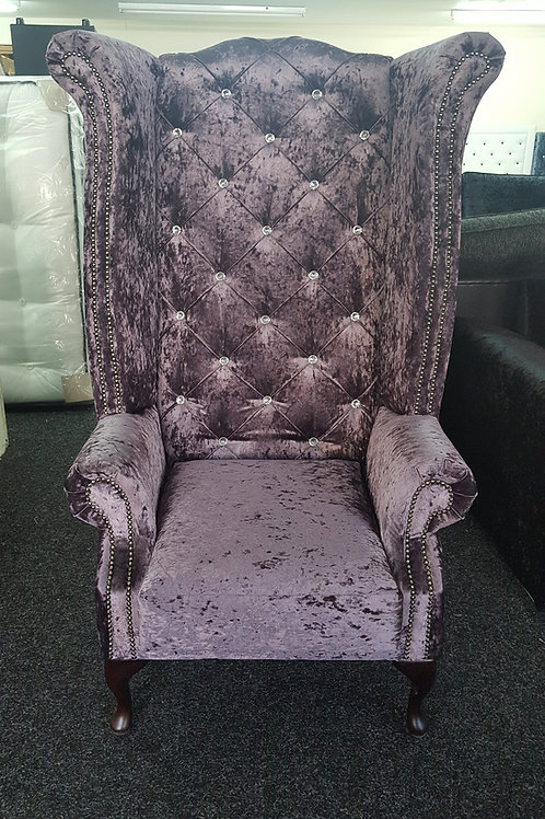 Chesterfield High Back Queen Anne Chair in Purple Crushed Velvet