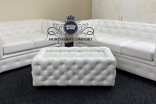 Chesterfield 3 + 2 in White Bonded Leather