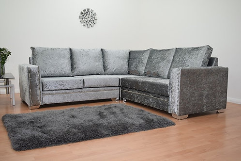 Abbey Corner Sofa in Silver Crushed Velvet