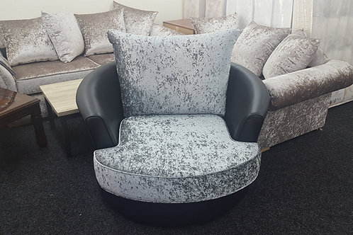 Swivel Chair in Grey/Black Crushed Velvet/Leather