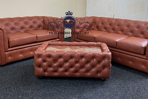 Chesterfield 3 + 2 in Tan Bonded Leather