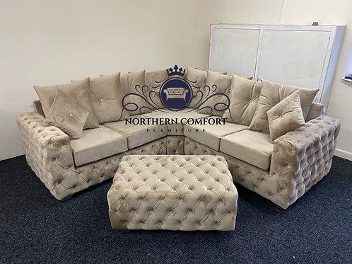 Ashton Corner Sofa in Mink French Velvet