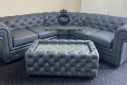 Chesterfield Corner Sofa in Slate Bonded Leather