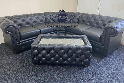 Chesterfield Corner Sofa in Black Bonded Leather