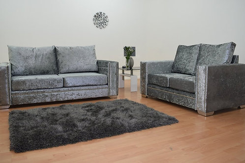 Abbey Sofa in Grey Crushed Velvet