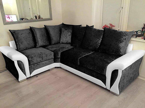 Shannon Corner Sofa in Black & White Crushed Velvet & Leather