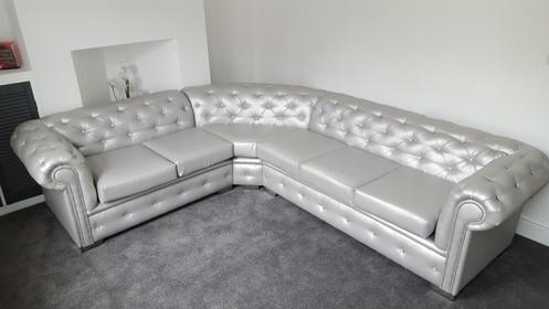Chesterfield Corner Sofa In Silver Leather