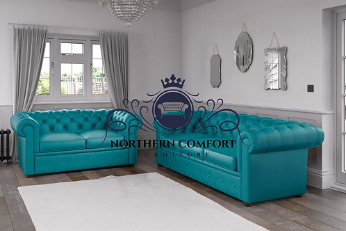 Chesterfield in Turquoise Malaga Bonded Leather
