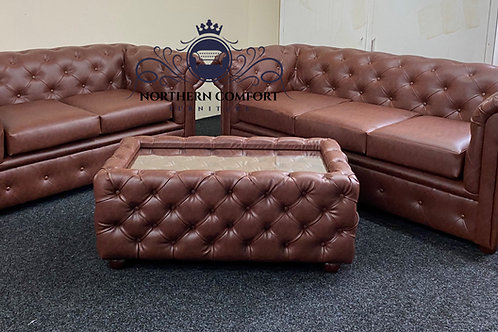 Chesterfield 3 + 2 in Chestnut Bonded Leather