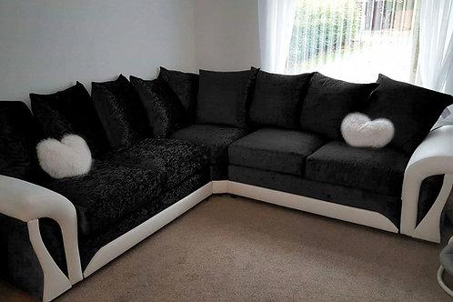 Shannon Corner Sofa in Black & White Crushed Velvet/Leather