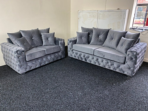 Ashton Chesterfield in Grey Plush Velvet