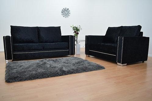 Abbey Sofa in Black Crushed Velvet