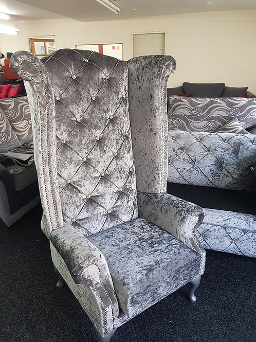 Chesterfield High Back Queen Anne Chair in Silver Crushed Velvet