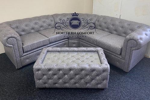 Chesterfield Corner Sofa in Grey Bonded Leather