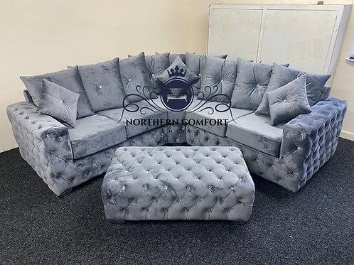 Ashton Corner Sofa in Grey French Velvet
