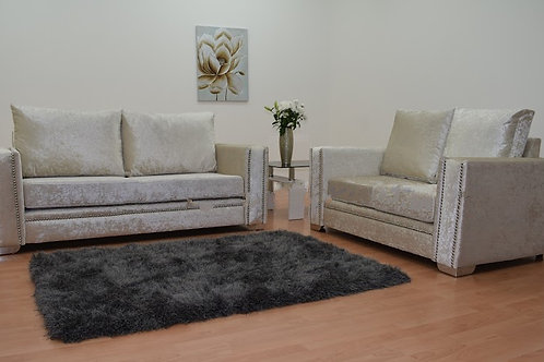 Abbey Sofa in Cream Crushed Velvet