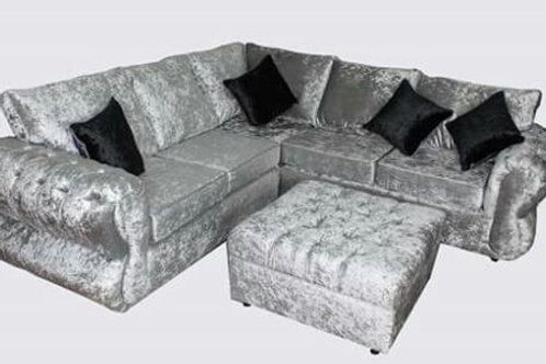 Sienna Corner Sofa in Silver Crushed Velvet