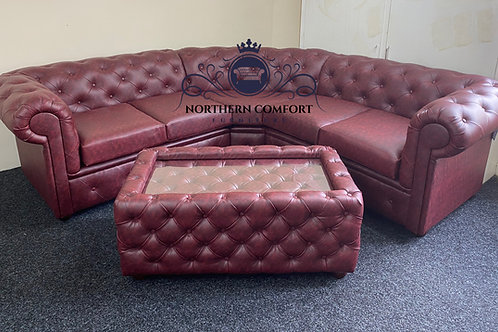 Chesterfield Corner Sofa in Ox Blood Bonded Leather
