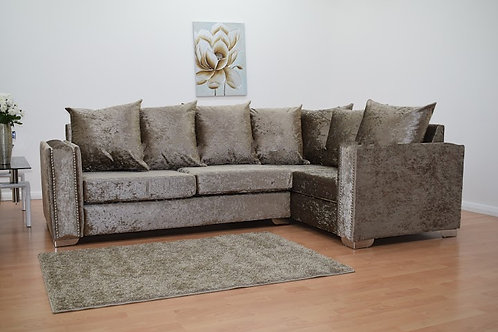 Abbey Corner Sofa in  Chocolate Crushed Velvet