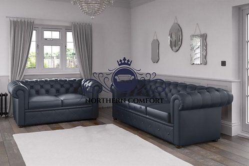 Chesterfield in Navy Malaga Bonded Leather