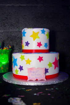 2 story cake for 15th birthday neon