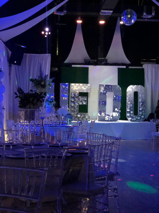 Blue decorated banquet hall in Kendall