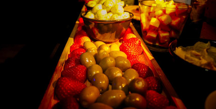 strawberries and olives for party guests